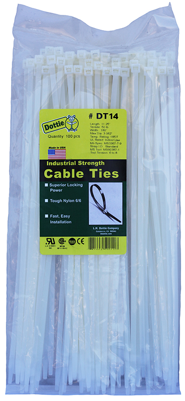 DOTTIE DT-14 14-3/8 WHT CABLE TIE
